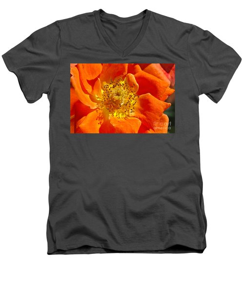 Heart Of The Orange Rose Men's V-Neck T-Shirt