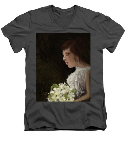 Men's V-Neck T-Shirt featuring the painting Her Big Day by Fe Jones