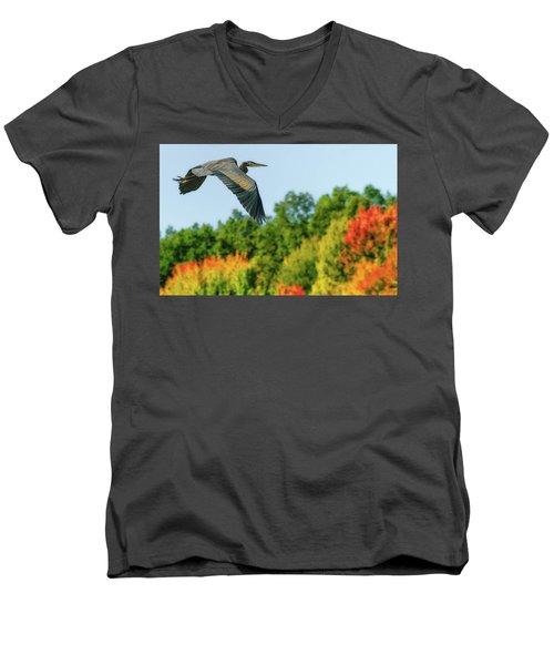 Heron In Autumn  Men's V-Neck T-Shirt