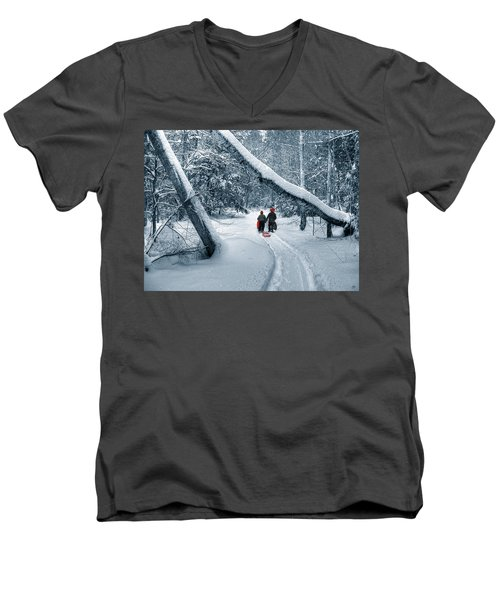 Hiking Into The Gully Men's V-Neck T-Shirt