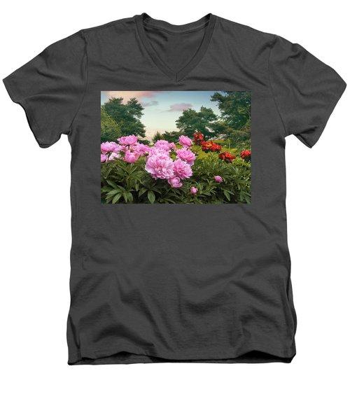 Hillside Peonies Men's V-Neck T-Shirt
