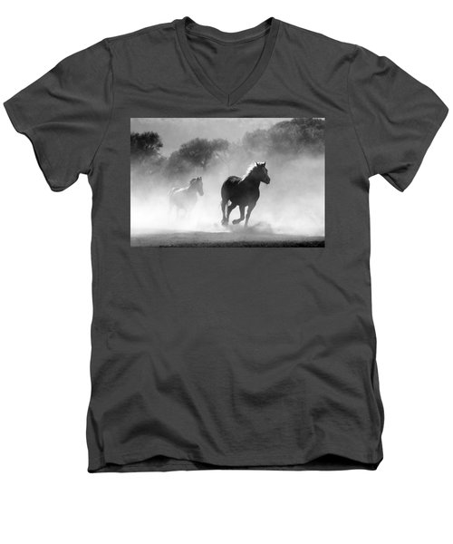 Horses On The Run Men's V-Neck T-Shirt