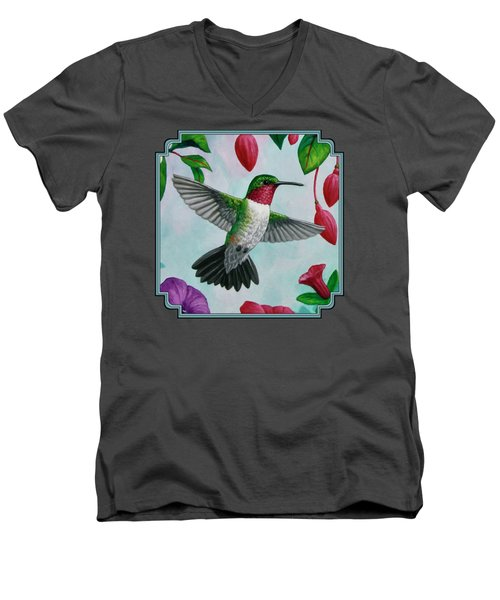 Hummingbird Flying In Spring Flower Garden 1 Men's V-Neck T-Shirt
