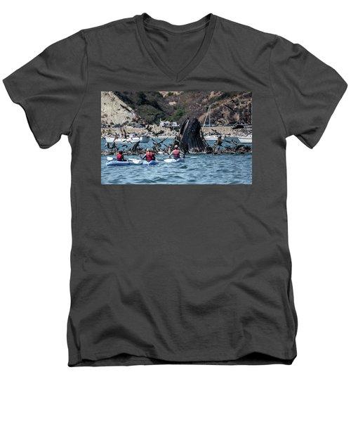 Humpbacks In Avila Harbor Men's V-Neck T-Shirt