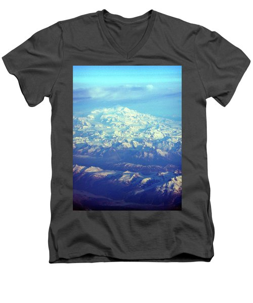 Ice Covered Mountain Top Men's V-Neck T-Shirt