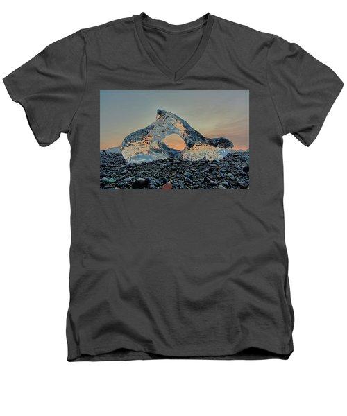 Iceland Diamond Beach Abstract  Ice Men's V-Neck T-Shirt
