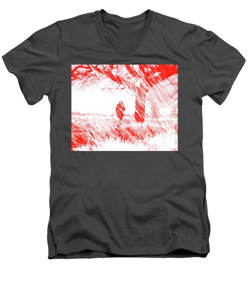 Icy Shards Fall On Setttled Snow Men's V-Neck T-Shirt