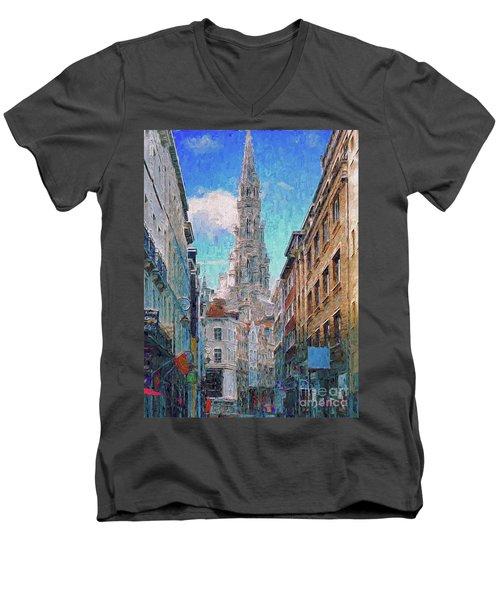 In-spired  Street Scene Brussels Men's V-Neck T-Shirt