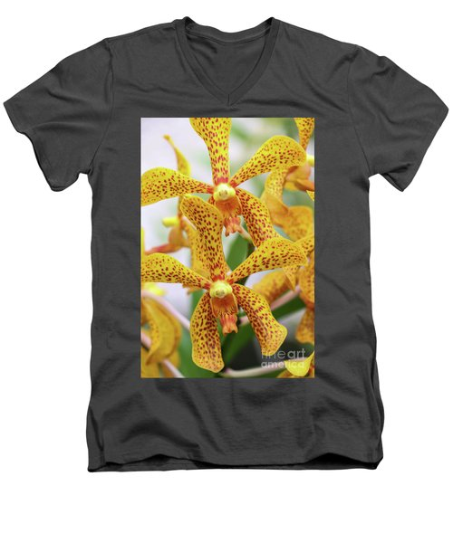 Intriguing Yellow Spider Orchids Men's V-Neck T-Shirt