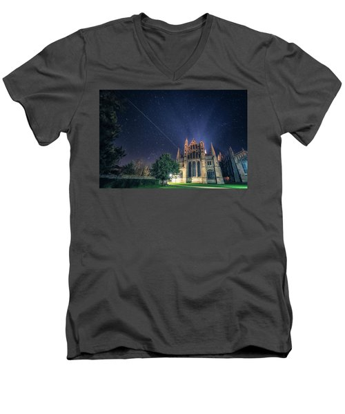 Iss Over Ely Cathedral Men's V-Neck T-Shirt