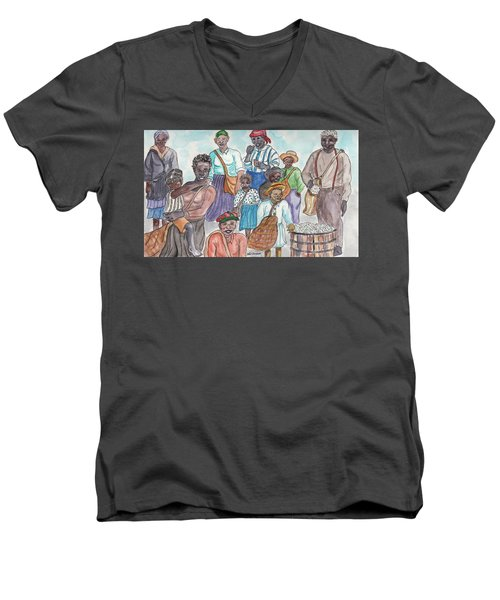 It's Cotton Picking Time At The Spangler Farm In South Alabama Men's V-Neck T-Shirt