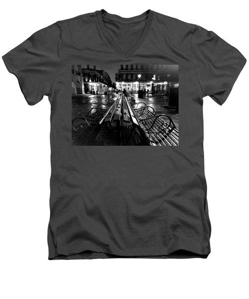 Jackson Square In The Rain Men's V-Neck T-Shirt