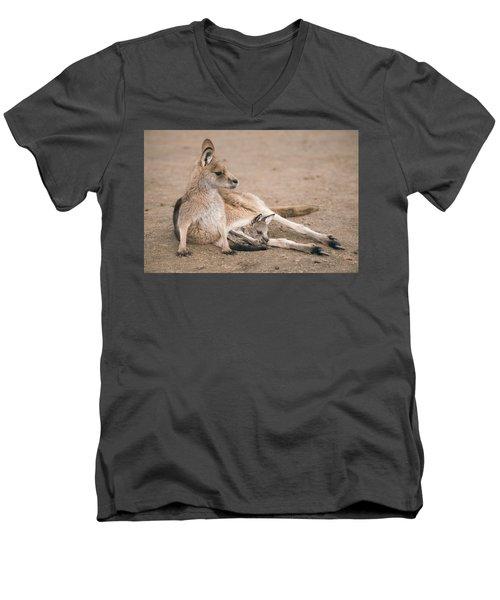 Kangaroo Outside Men's V-Neck T-Shirt