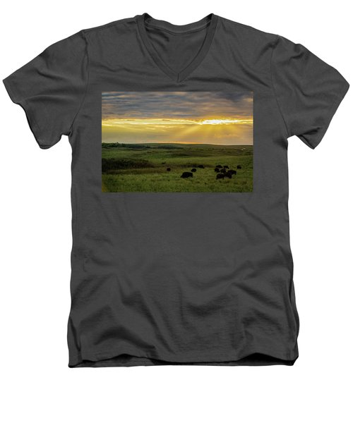 Kansas Flint Hills Sunset Men's V-Neck T-Shirt