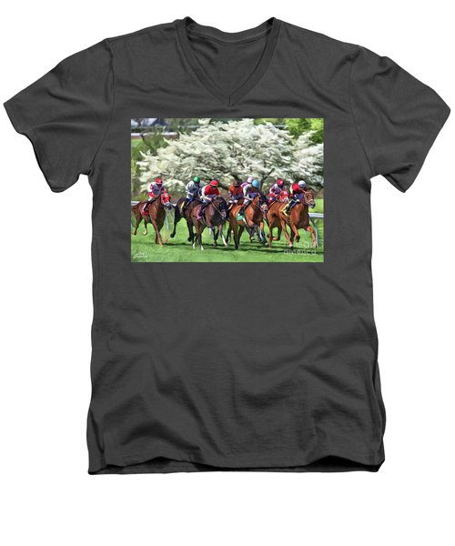 Keeneland Down The Stretch Men's V-Neck T-Shirt