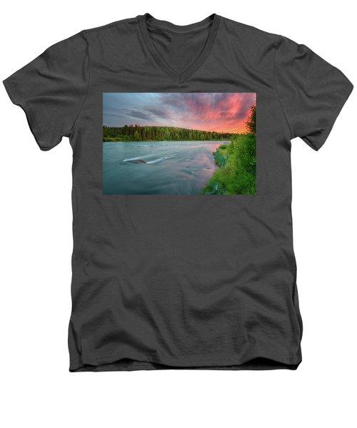 Kenai River Alaska Sunset Men's V-Neck T-Shirt