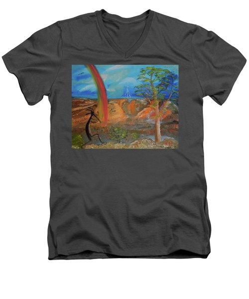 Kokopelli Calls The Storm Men's V-Neck T-Shirt