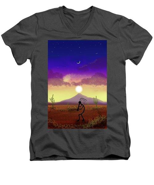 Kokopelli Dream World Men's V-Neck T-Shirt