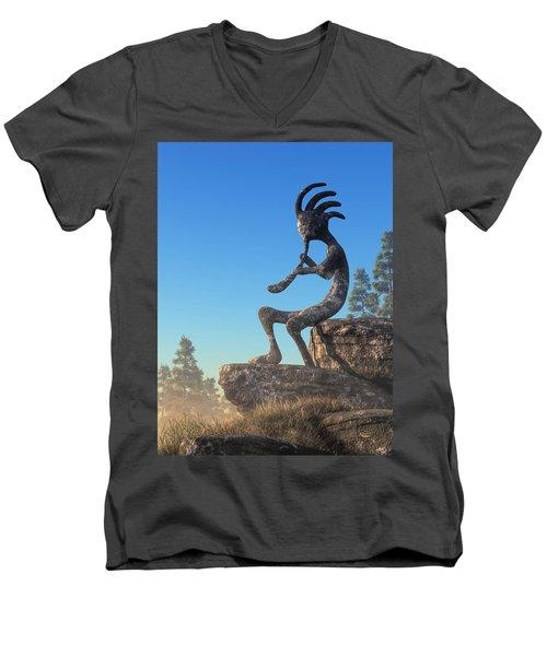 Kokopelli Statue Men's V-Neck T-Shirt