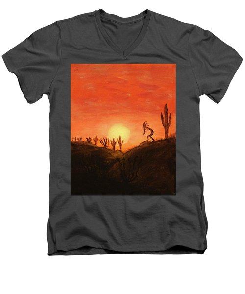 Kokopelli's Sunset Song Men's V-Neck T-Shirt