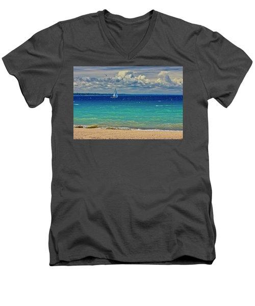 Lake Huron Sailboat Men's V-Neck T-Shirt