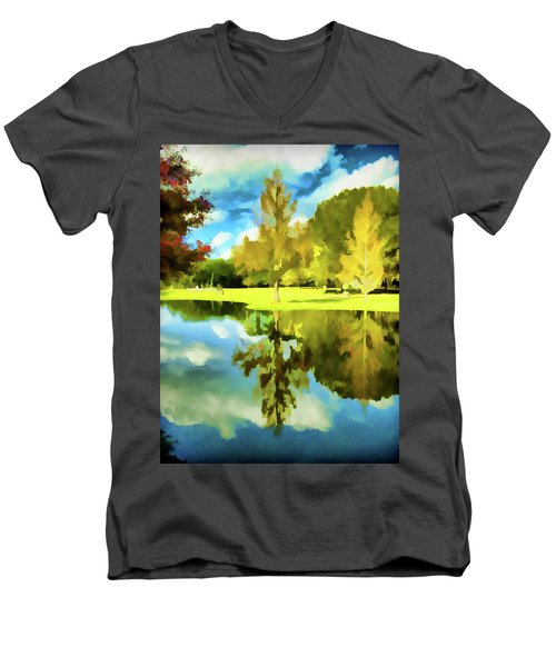 Lake Reflection - Faux Painted Men's V-Neck T-Shirt