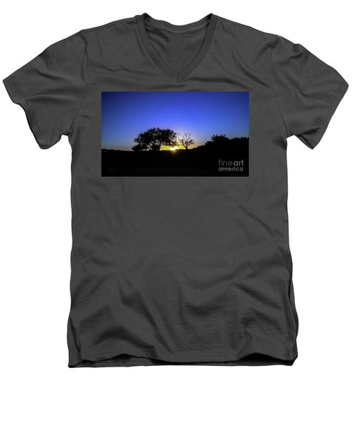 Last Light Texas Hill Country Paradise Canyon Sunset 8053a Men's V-Neck T-Shirt