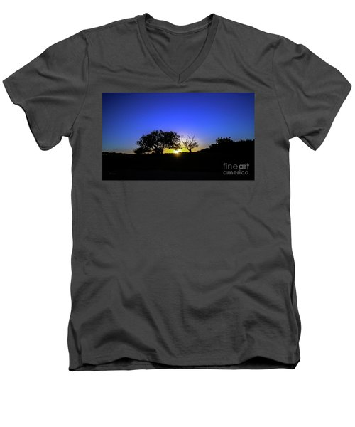 Men's V-Neck T-Shirt featuring the photograph Last Light Texas Hill Country Paradise Canyon Sunset 8053a1 by Ricardos Creations