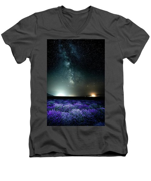 Men's V-Neck T-Shirt featuring the photograph Lavender Milky Way by Bryan Carter