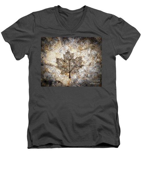 Leaf Imprint Men's V-Neck T-Shirt