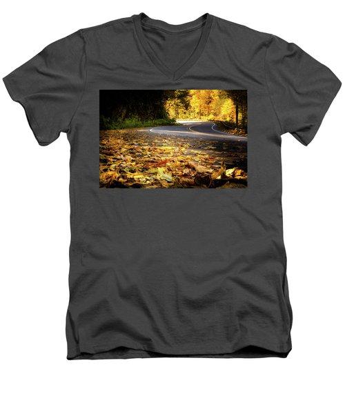 Leaves Along The Road Men's V-Neck T-Shirt