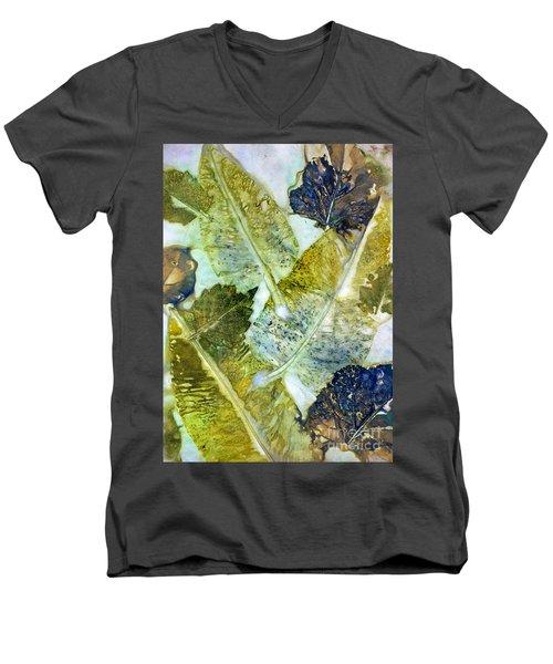 Leaves Of Nature Eco Dyed Print Men's V-Neck T-Shirt