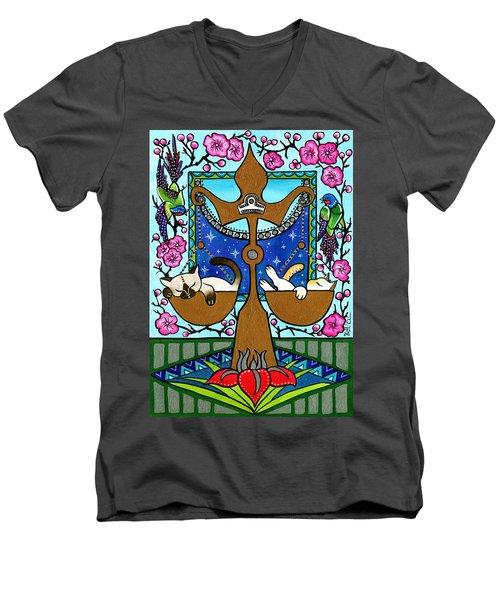 Libra Cat Zodiac Men's V-Neck T-Shirt