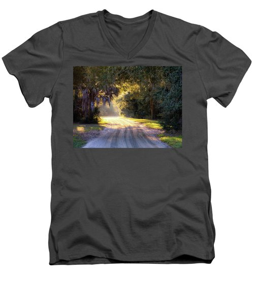 Light, Shadows And An Old Dirt Road Men's V-Neck T-Shirt