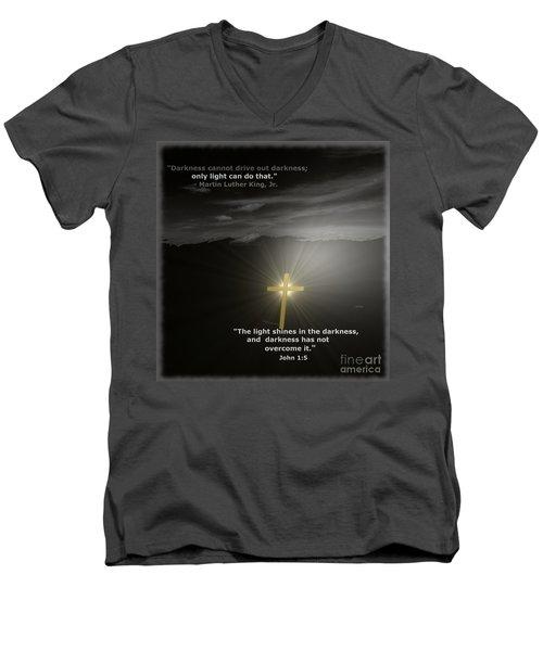Light Shines In The Darkness Men's V-Neck T-Shirt