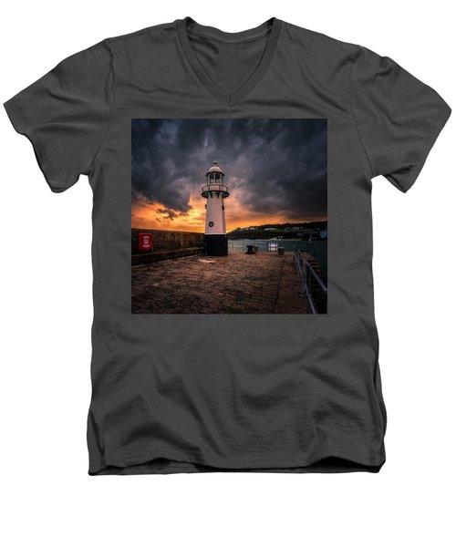 Lighthouse Dramatic Sky Men's V-Neck T-Shirt