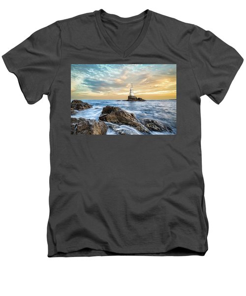 Lighthouse In Ahtopol, Bulgaria Men's V-Neck T-Shirt