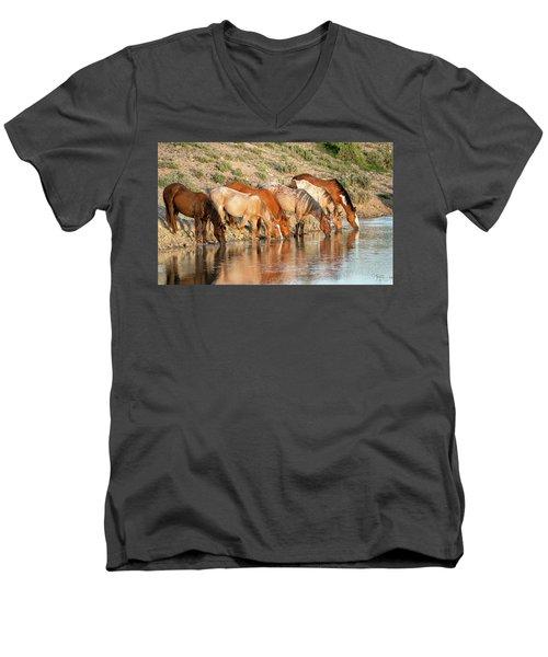 Lineup At The Pond-- Wild Horses Men's V-Neck T-Shirt