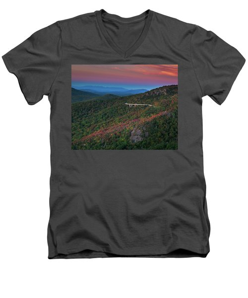 Linn Cove Pink And Blue Men's V-Neck T-Shirt