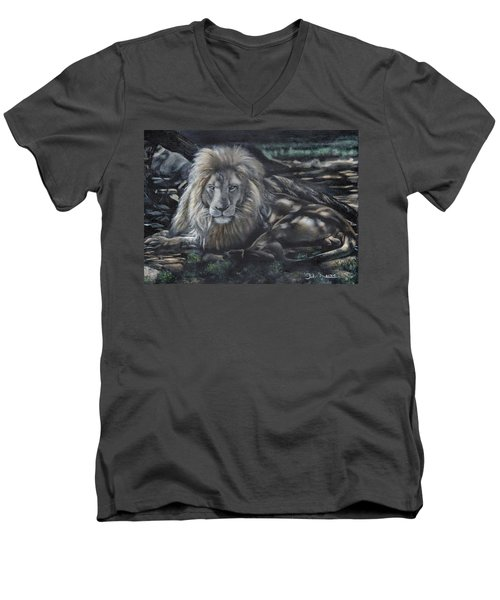 Lion In Dappled Shade Men's V-Neck T-Shirt