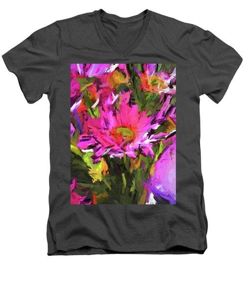Lolly Pink Daisy Flower Men's V-Neck T-Shirt