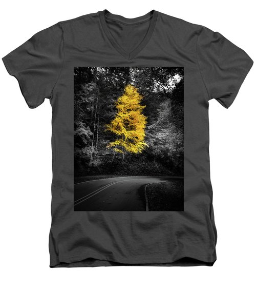 Lone Yellow Tree In The Curve Men's V-Neck T-Shirt