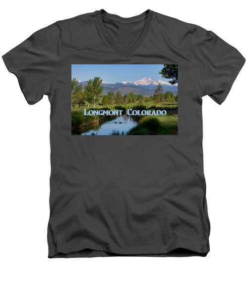 Men's V-Neck T-Shirt featuring the photograph Longmont Colorado Twin Peaks View Poster by James BO Insogna