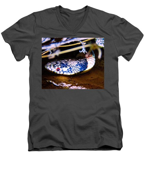 Men's V-Neck T-Shirt featuring the photograph Longnosed Snake Portrait by Judy Kennedy