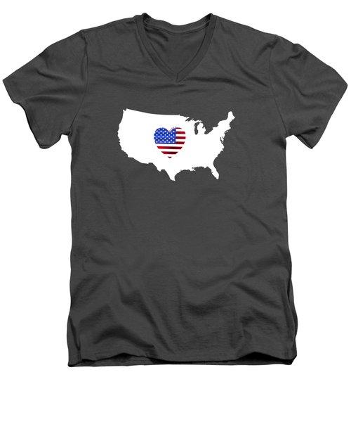 Love America Map Men's V-Neck T-Shirt
