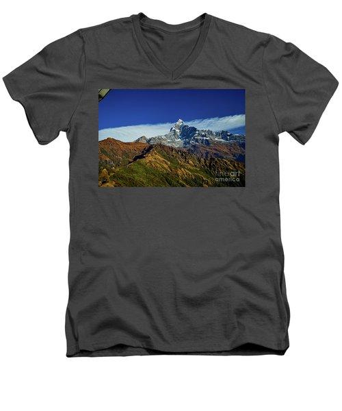 Machapuchare Mountain Fishtail In Himalayas Range Nepal Men's V-Neck T-Shirt