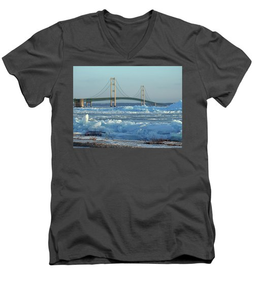 Mackinac Bridge In Ice 2161801 Men's V-Neck T-Shirt