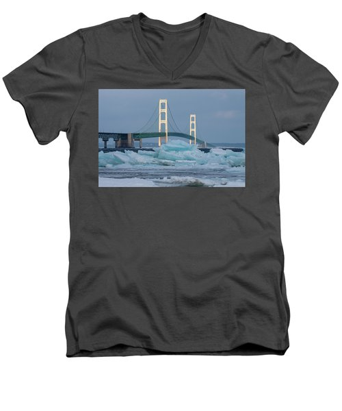 Mackinac Bridge In Ice 2161809 Men's V-Neck T-Shirt