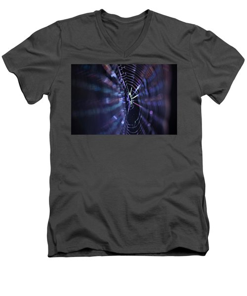 Macro Of A Spiders Web Captured At Night. Men's V-Neck T-Shirt
