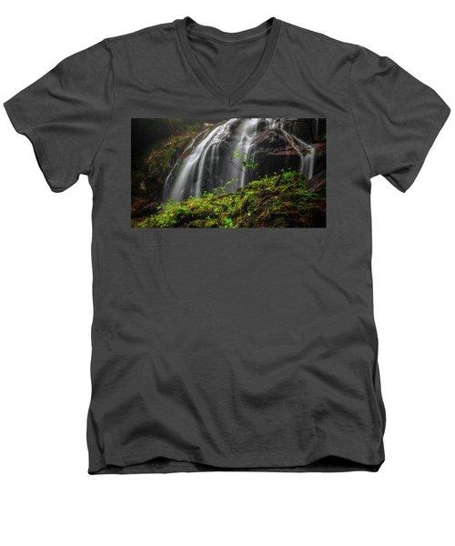 Magical Mystical Mossy Waterfall Men's V-Neck T-Shirt